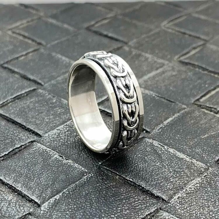 Spinning-ring Kejsarlänk i 925 oxiderat silver