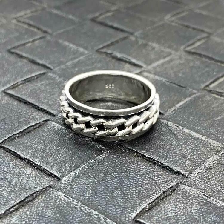 Spinning-ring Pansarlänk i 925 oxiderat silver
