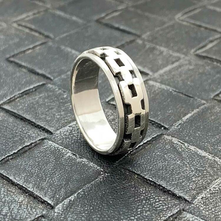 Spinning-ring Chain Link i 925 oxiderat silver