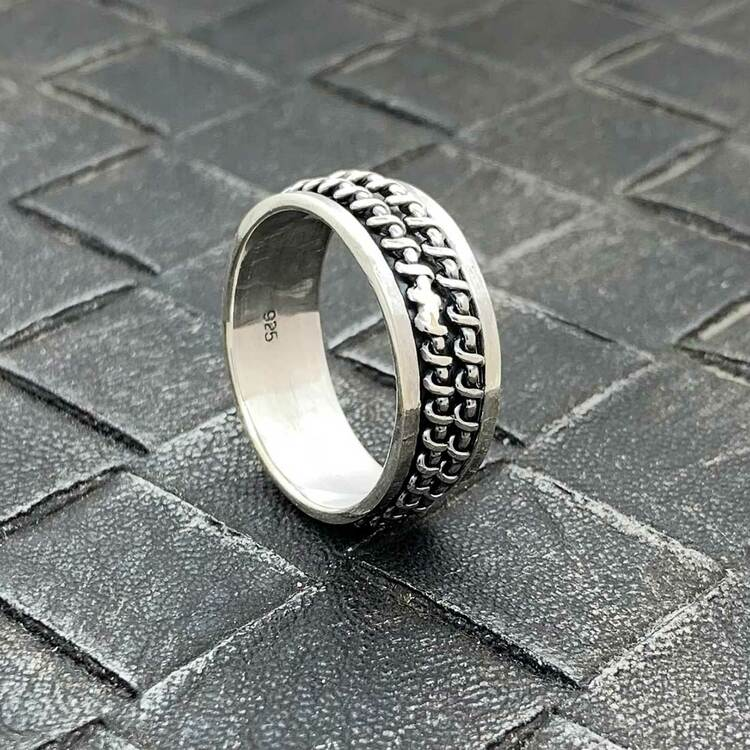 Spinning Ring Double Wire Oxiderat Silver