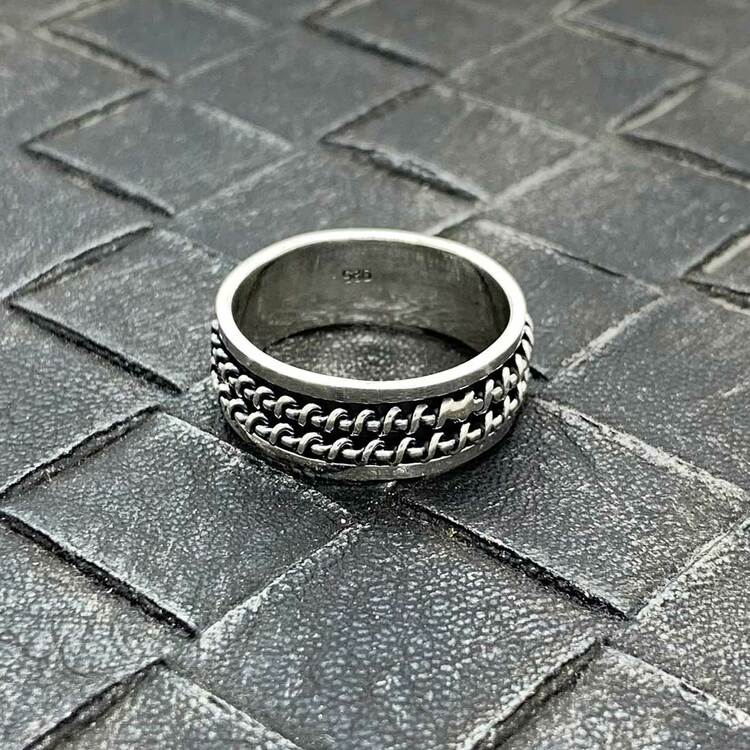 Spinning-ring Double Wire i 925 oxiderat silver