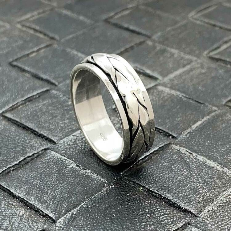Spinning Ring Oxiderat Silver