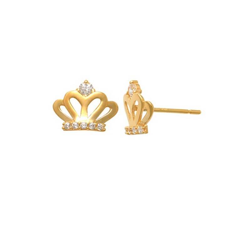Örhängen Crown med cz-stenar 18K Guld