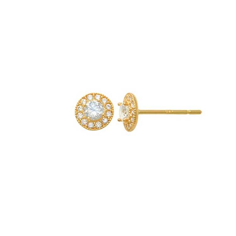 Örhängen Circle med cz-stenar 18K Guld