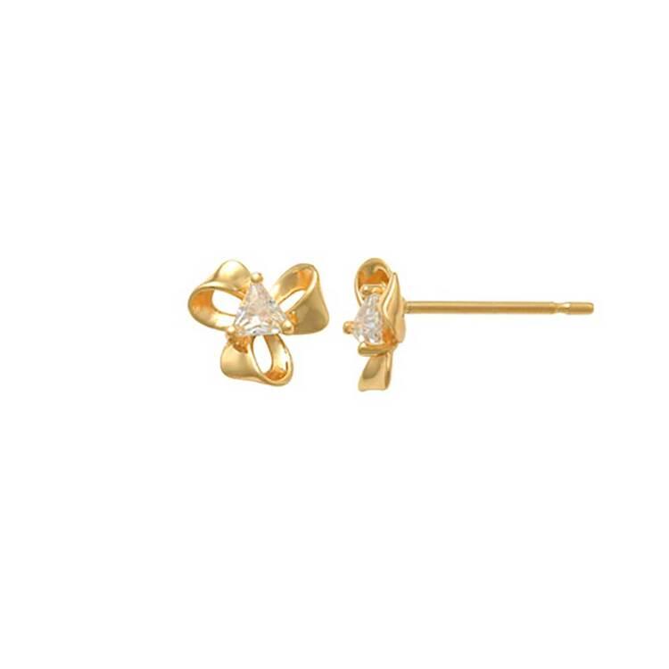 Örhängen Ribbon med cz-sten 18K Guld
