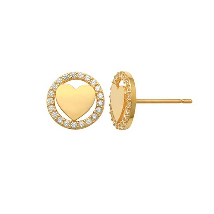 Örhängen Heart Circle med cz-stenar 18K Guld