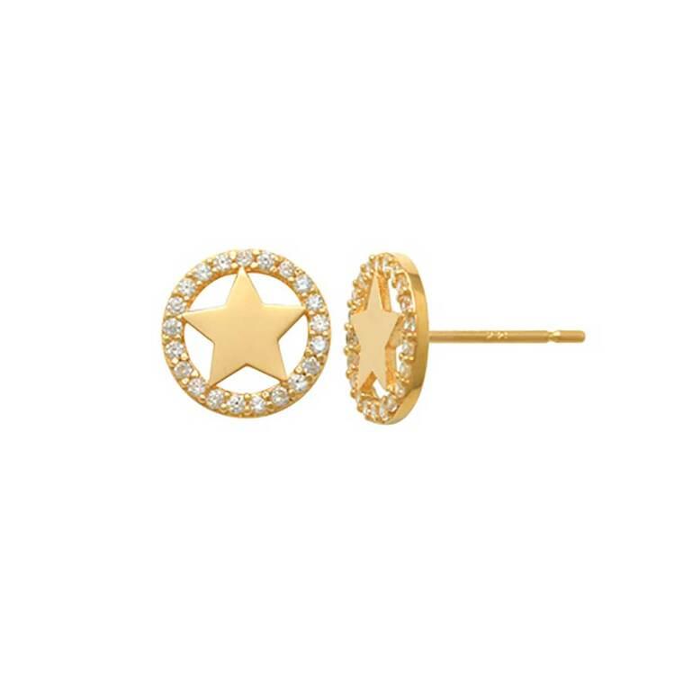 Örhängen Star Circle med cz-stenar 18K Guld