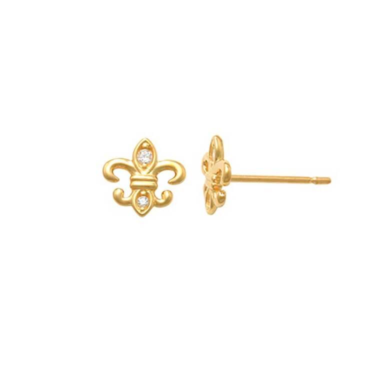 Örhängen Fleur de Lis med cz-stenar 18K Guld