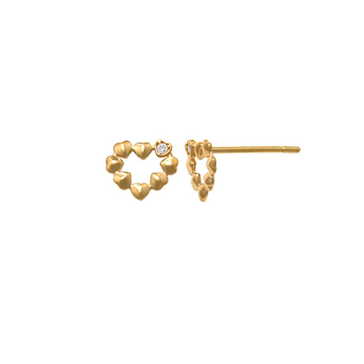 Örhängen Heart med cz-stenar 18K Guld