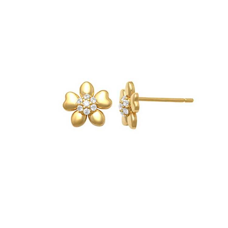 Örhängen Flower med cz-stenar 18K Guld