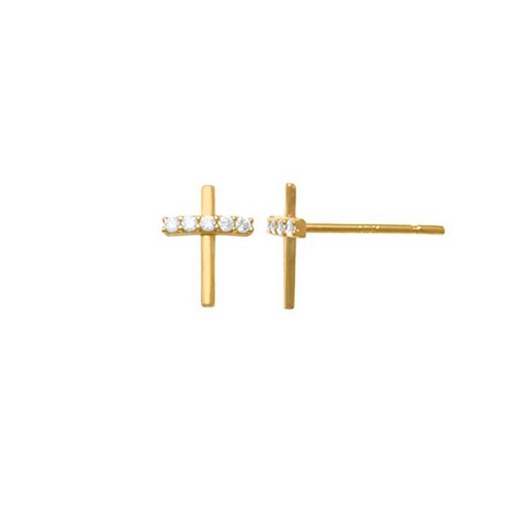 Örhängen Kors med cz-stenar 18K Guld