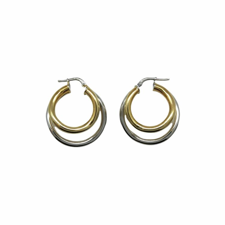Örhängen Double Rings Förgyllt & Rhodinerat Silver