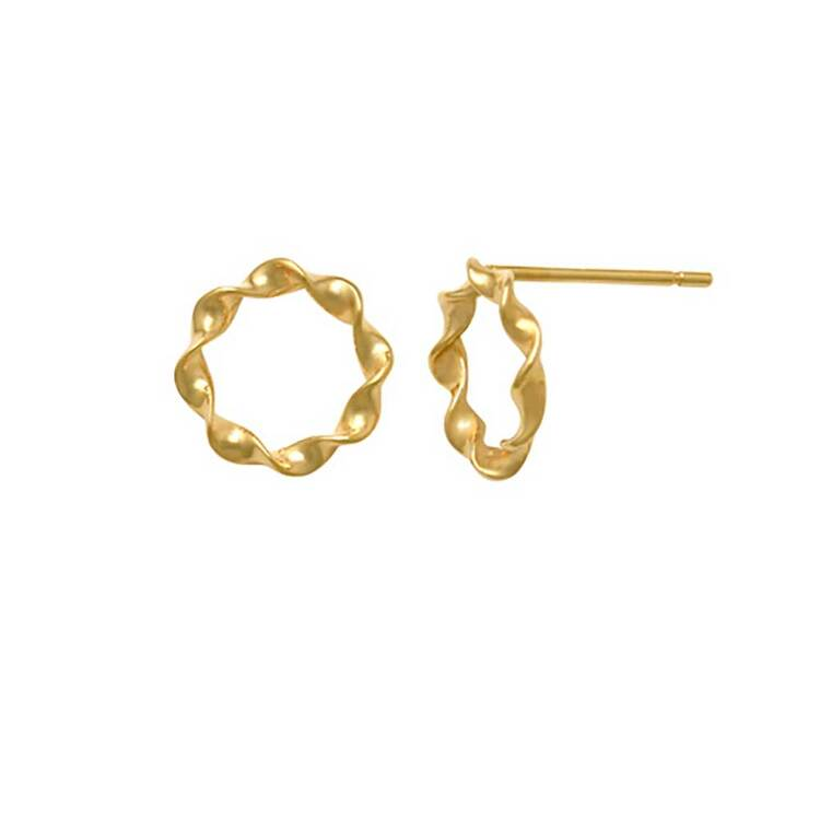Örhängen Twisted circle 18K Guld