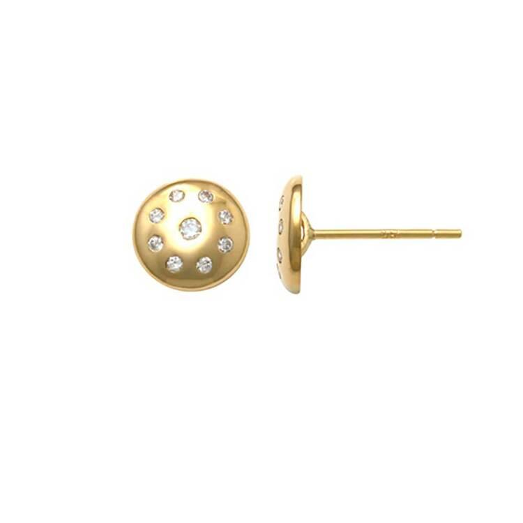 Örhängen Plate med cz-stenar 18K Guld