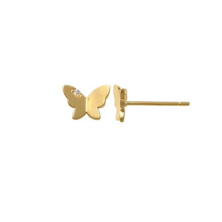 Örhängen Butterfly med cz-sten 18K Guld