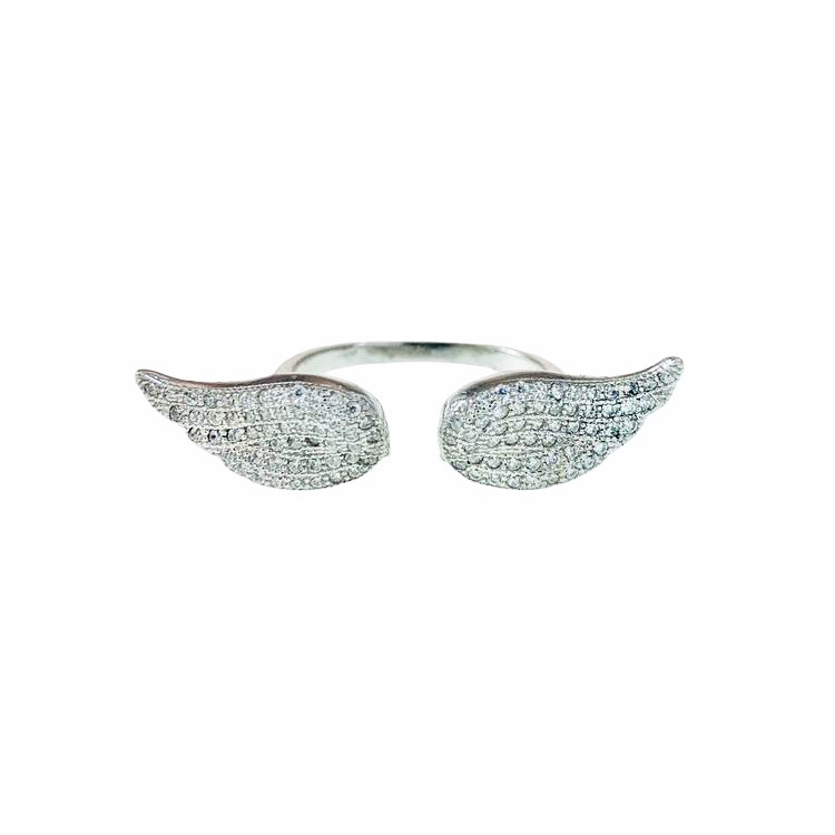 Ring Angel Wings Sparkling Silver