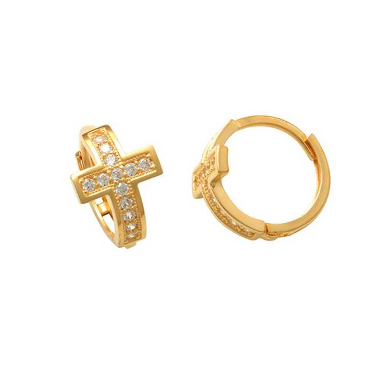 Creoler Kors med cz-stenar 18K Guld