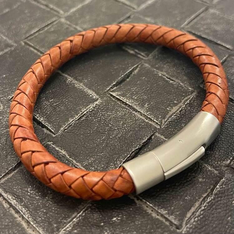 Flätat Läderarmband - Nature