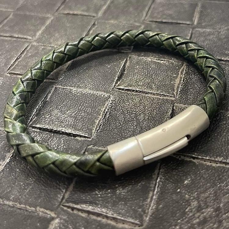 Flätat Läderarmband - Grön