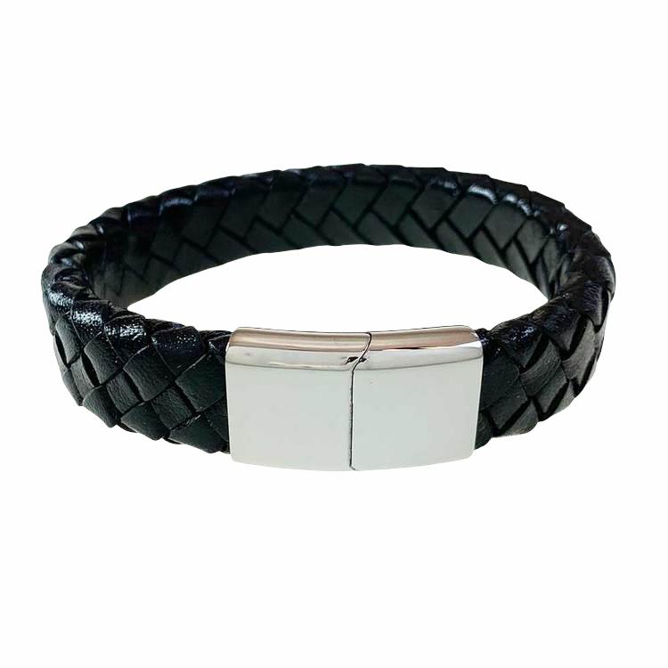 Flätat Läderarmband - Svart