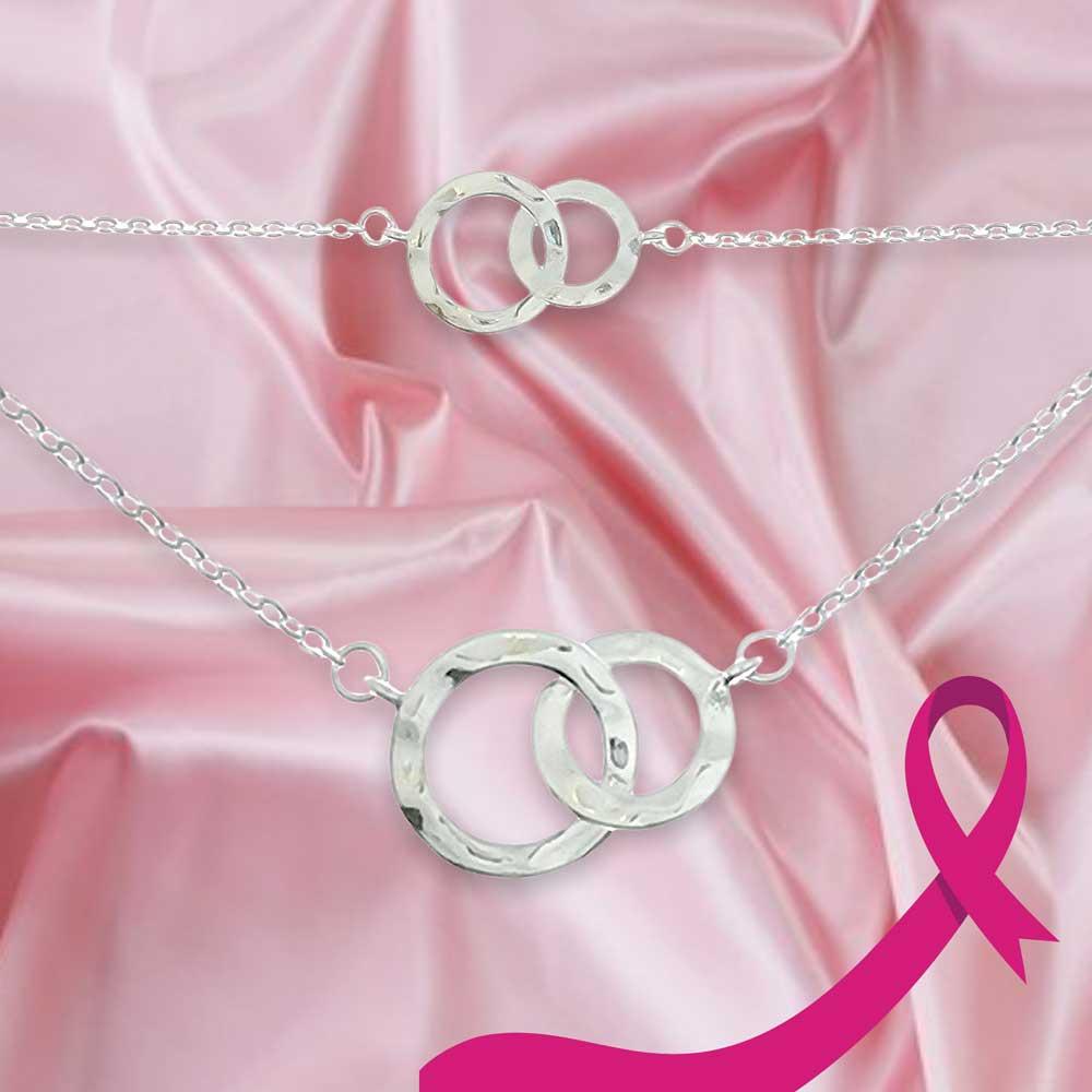 rosa bandet stöd bröstcancerfonden, köp vackra smycken för välgörenhet, smycken i silver till tjej från catwalksmycken