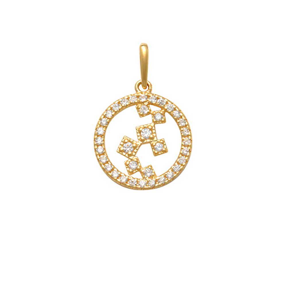 Guldhänge Circle med cz-stenar 18K