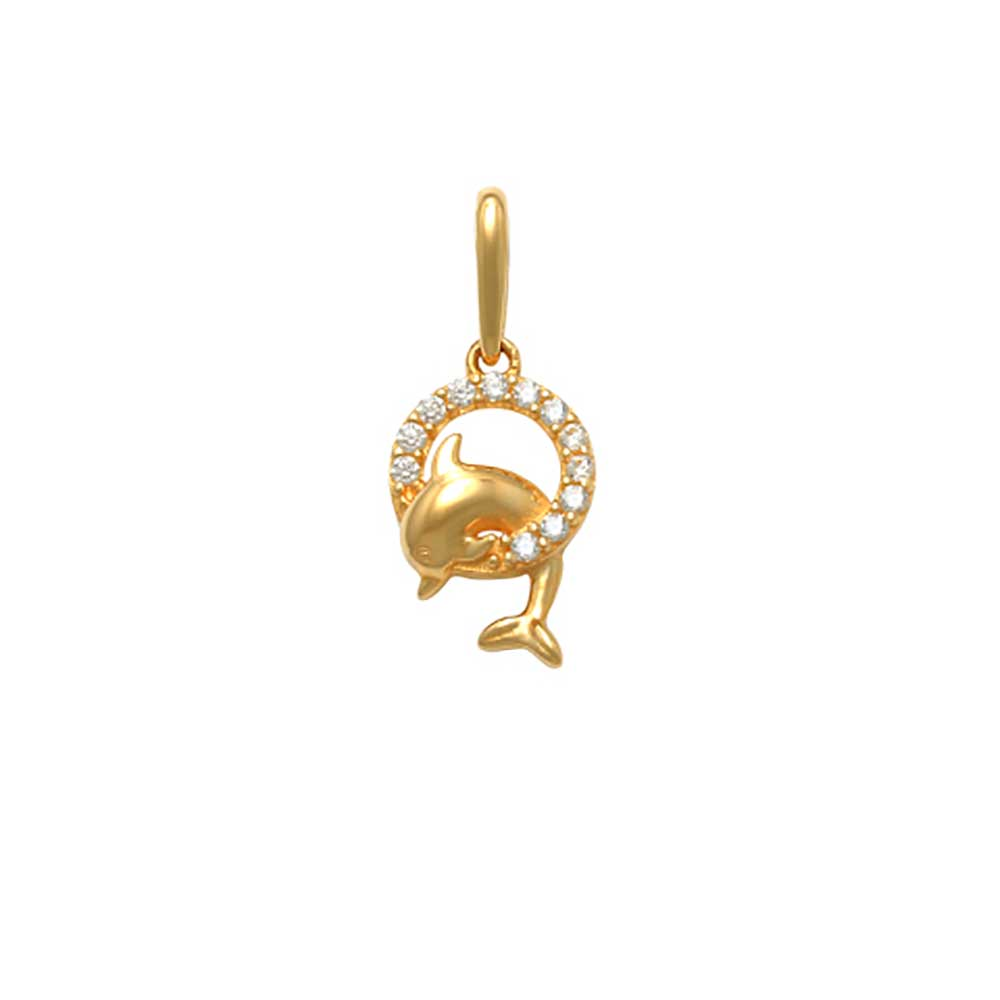 Guldhänge Dolphin med cz-stenar 18K