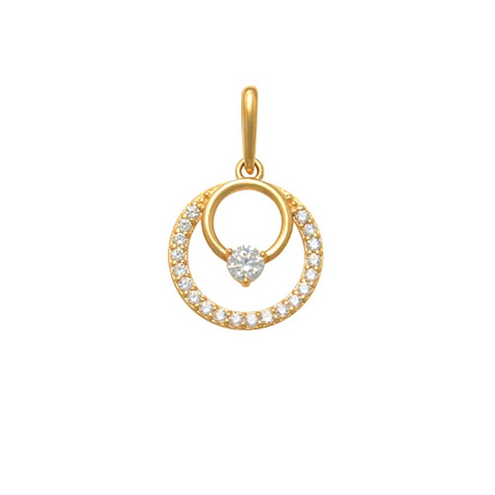 Guldhänge Double Rings med cz-stenar 18K