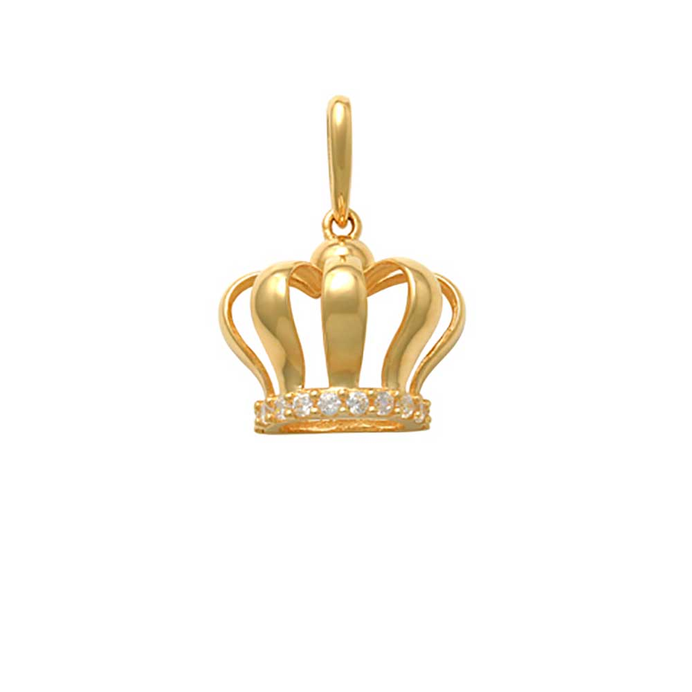Guldhänge Crown med cz-stenar 18K