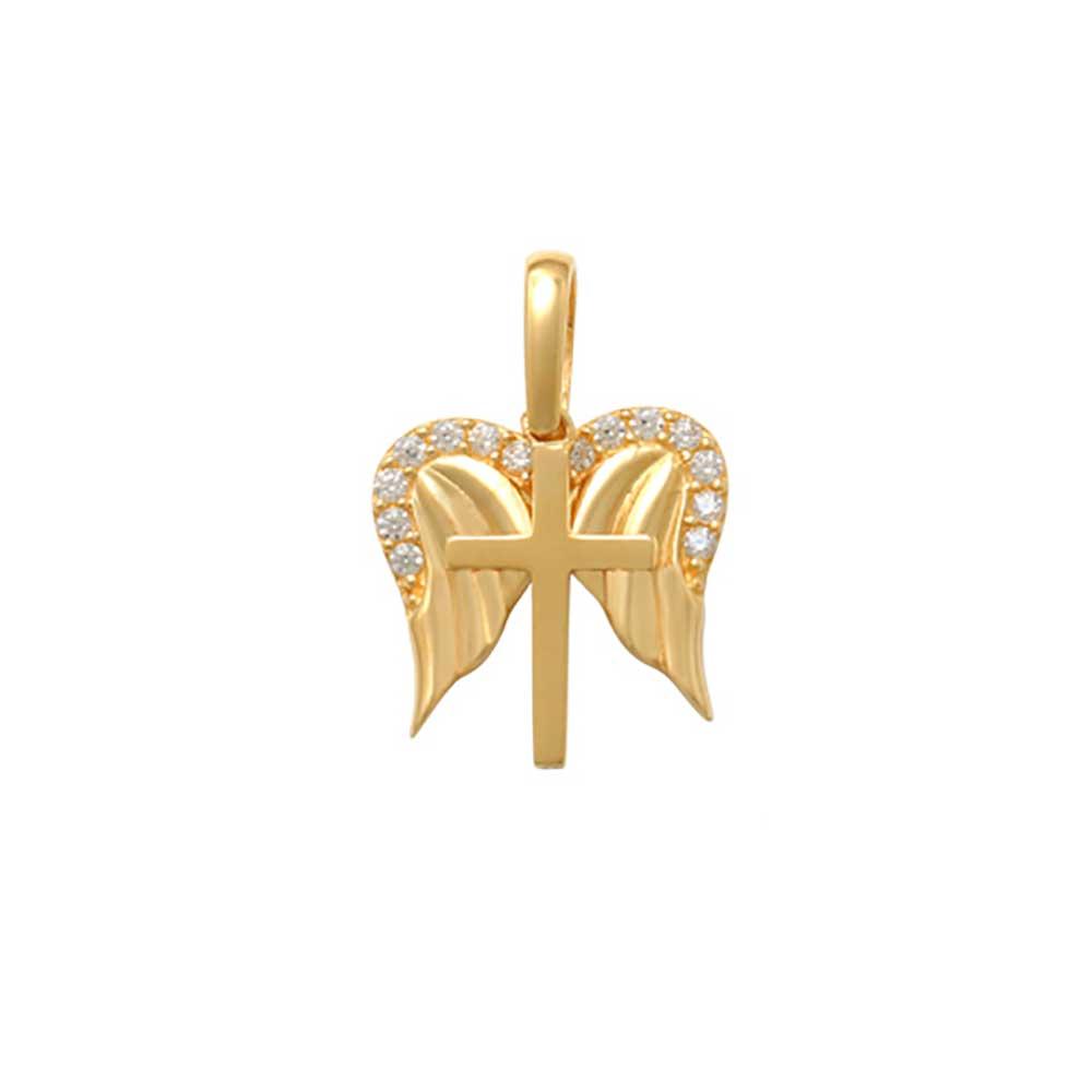 Guldhänge Kors med vingar med cz-stenar 18K
