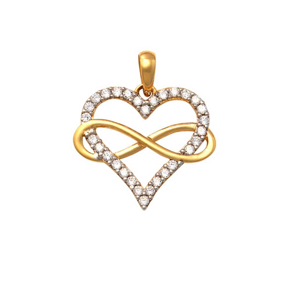 Guldhänge Heart Infinity med cz-stenar 18K