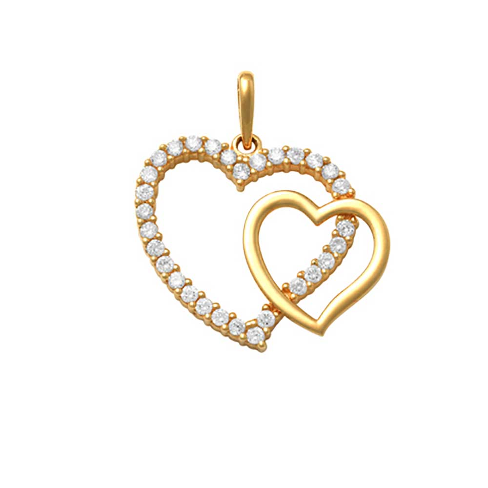 Guldhänge Double Heart med cz-stenar 18K