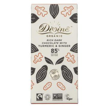 Divine Eko, mörk choklad, 85%, ekologisk, gurkmeja/ingefära
