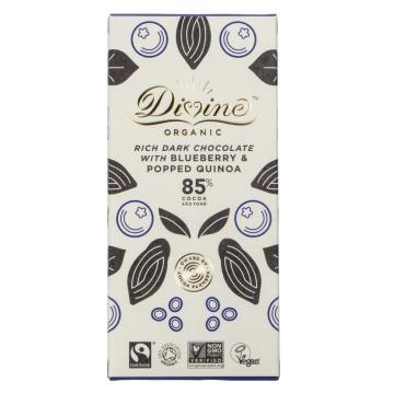Divine Eko, mörk choklad, 85%, ekologisk, blåbär & quinoa
