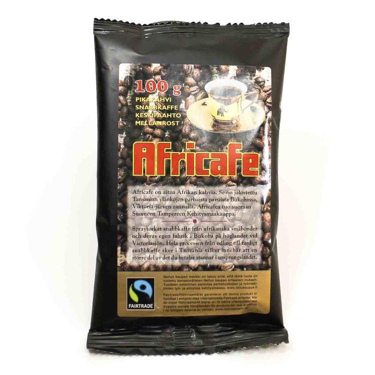 Africafe, 100g. Ett spraytorkat snabbkaffe av Arabica & robusta-bönor. Fairtrade-märkt från Tanzania.