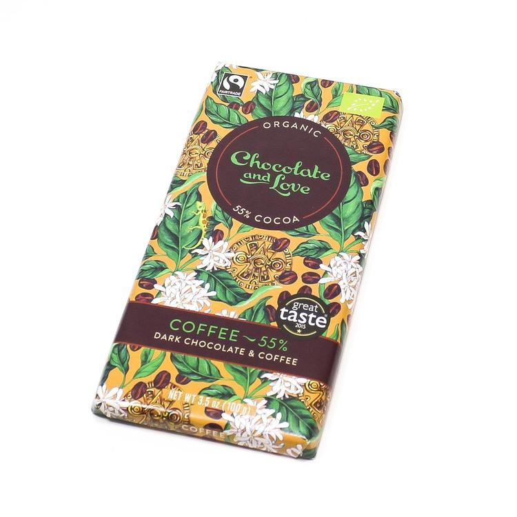 Chocolate and Love, coffee, 55 % kakao, Fairtrade, ekologisk. Vegansk.
