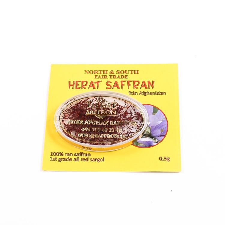 Saffran, Sargol, bästa kvalitet, Afghanistan, odlat av kvinnokooperativ i Herat-provinsen, etisk handel,