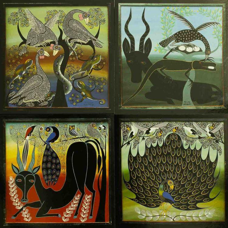 Tingatinga vykort från Tanzania, 4 motiv med antilop, gasell, orm, påfågel. Naivistiska målningar, Tinga Tinga Arts Cooperative Society, Dar es Salaam.