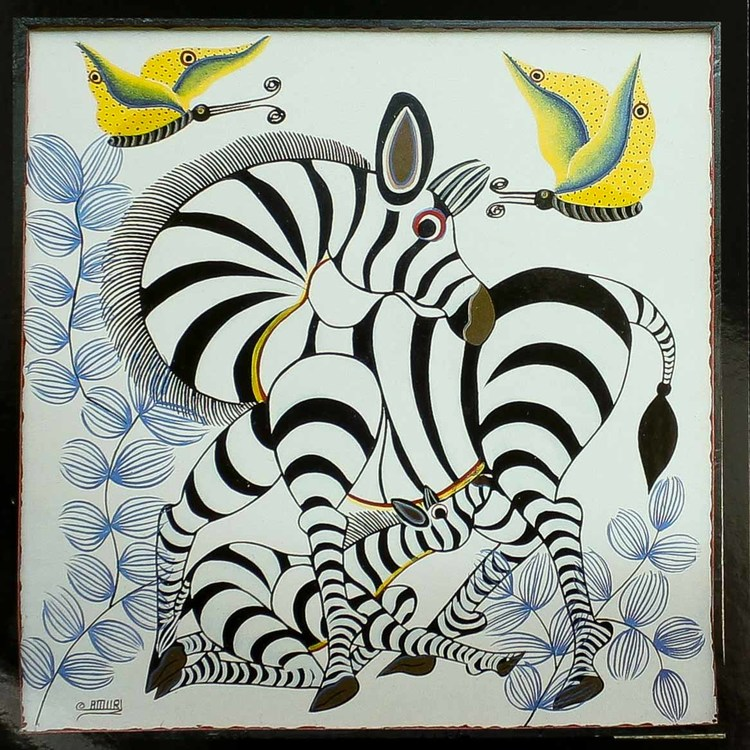 Tingatinga vykort från Tanzania, motiv med sebra. Naivistiska målningar, Tinga Tinga Arts Cooperative Society, Dar es Salaam.