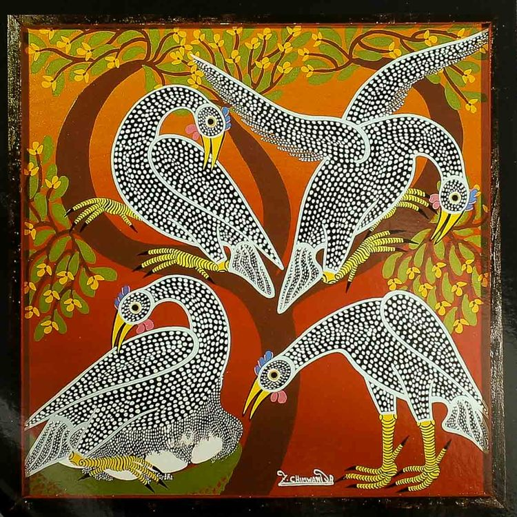 Tingatinga vykort från Tanzania, motiv med pärlhöns. Naivistiska målningar, Tinga Tinga Arts Cooperative Society, Dar es Salaam.