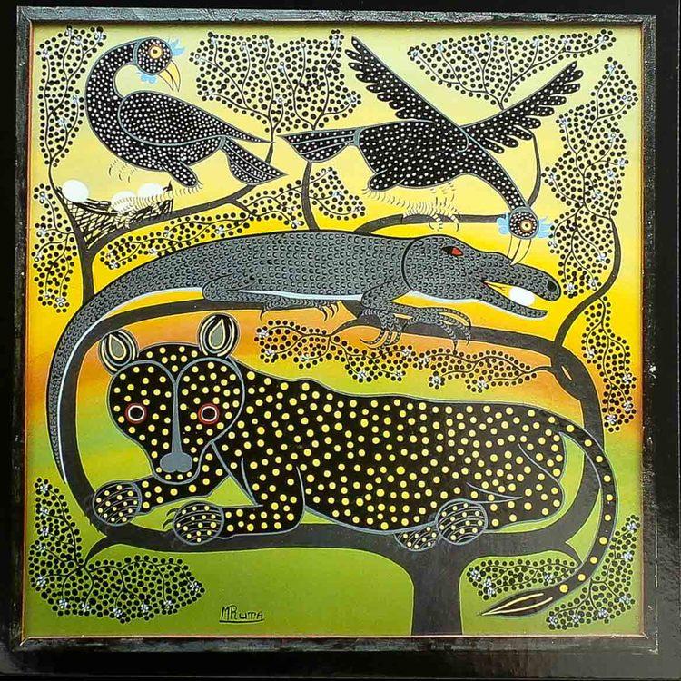 Tingatinga vykort från Tanzania, motiv med leopard. Naivistiska målningar, Tinga Tinga Arts Cooperative Society, Dar es Salaam.