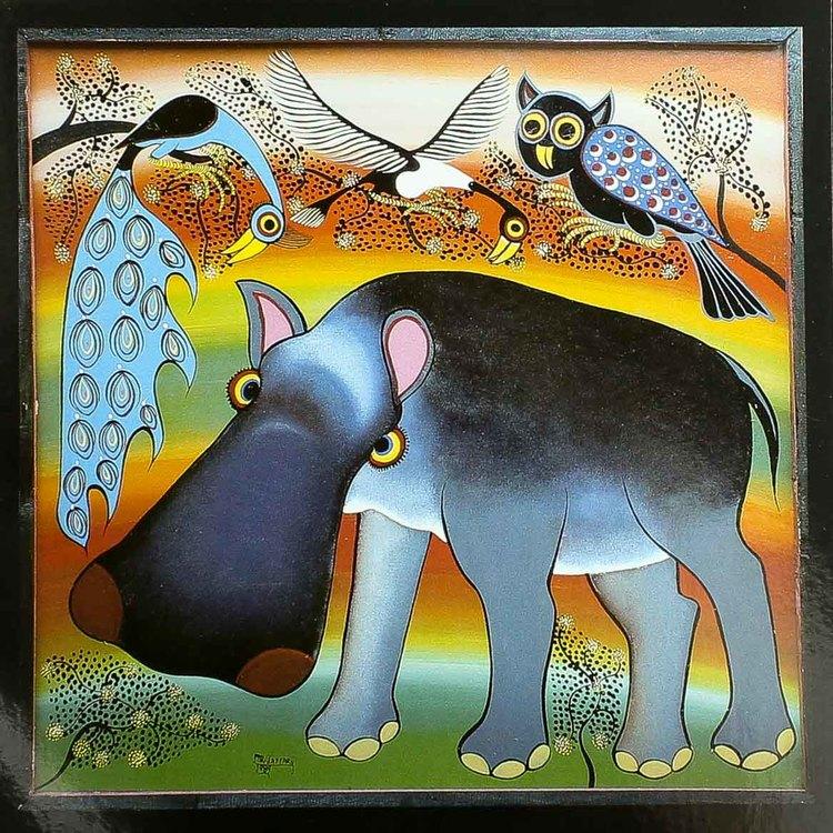 Tingatinga vykort från Tanzania, motiv med flodhäst. Naivistiska målningar, Tinga Tinga Arts Cooperative Society, Dar es Salaam.