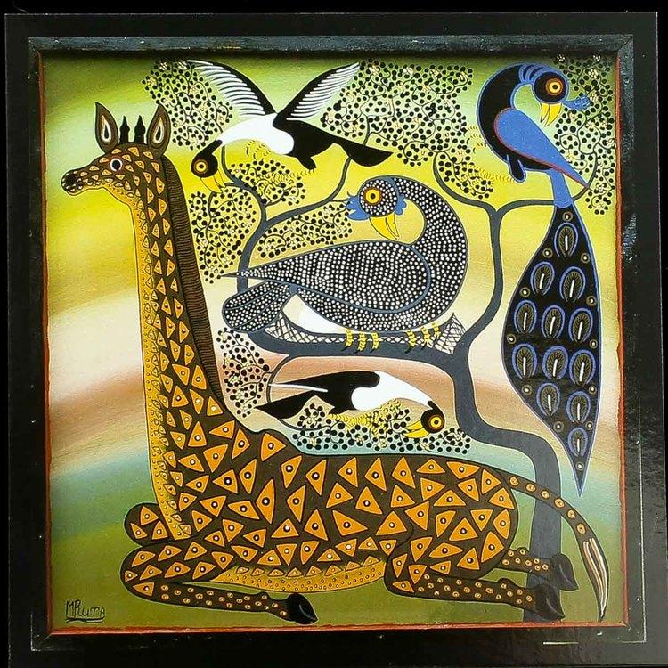 Tingatinga vykort från Tanzania. Motiv med giraff, naivistiska målningar, Tinga Tinga Arts Cooperative Society, Dar es Salaam