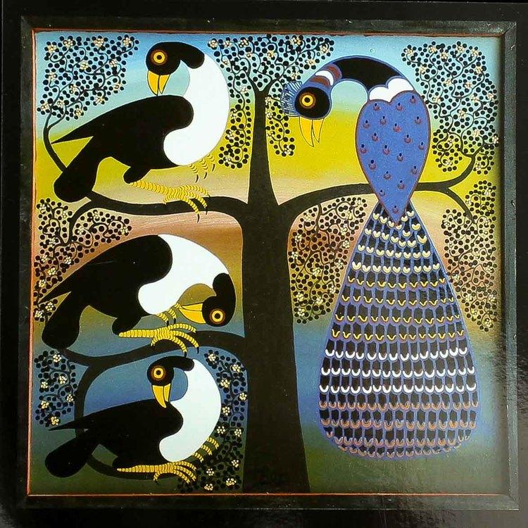 Tingatinga vykort från Tanzania. Motiv med påfågel, naivistiska målningar, Tinga Tinga Arts Cooperative Society, Dar es Salaam