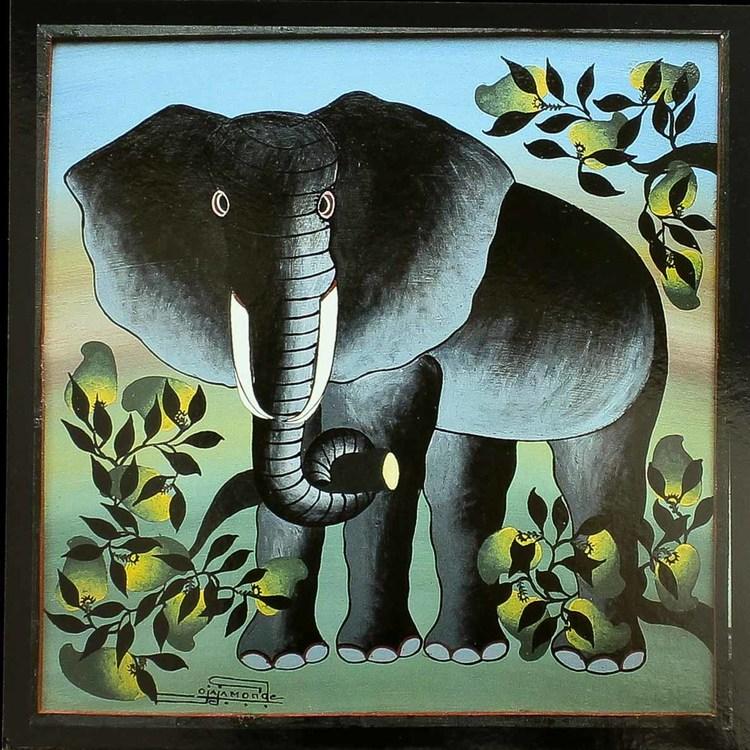 Tingatinga vykort från Tanzania. Motiv med elefant, naivistiska målningar, Tinga Tinga Arts Cooperative Society, Dar es Salaam