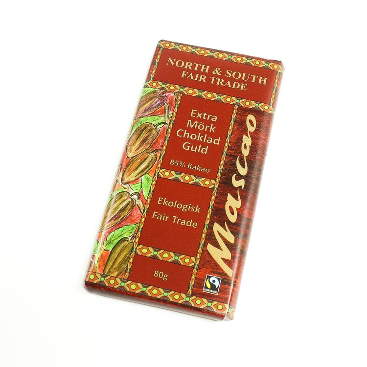 Mascao choklad 85 % kakao. Extra mörk, extra god. För finsmakare! Ekologisk & Fair Trade. Vegansk.