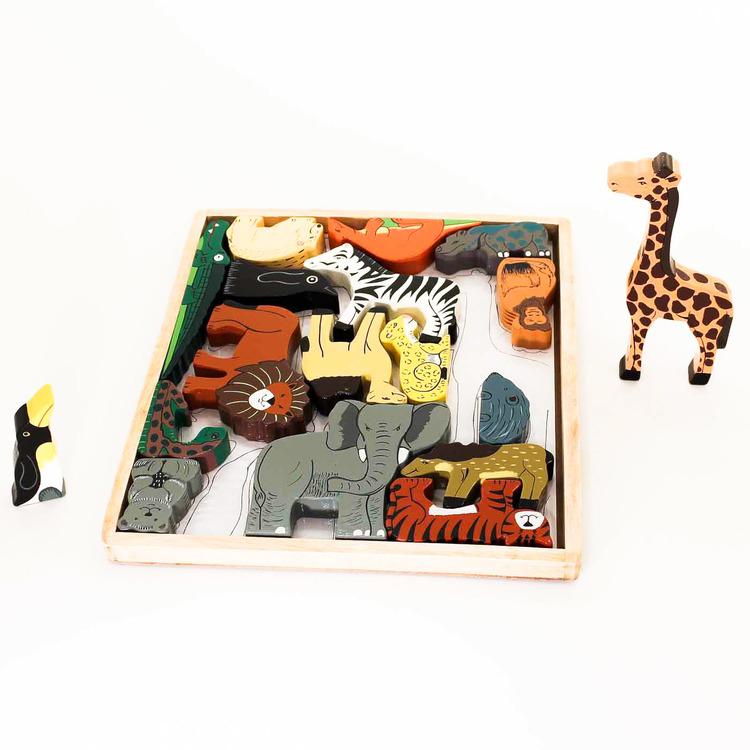 Pussel i trä, med ram, vilda djur