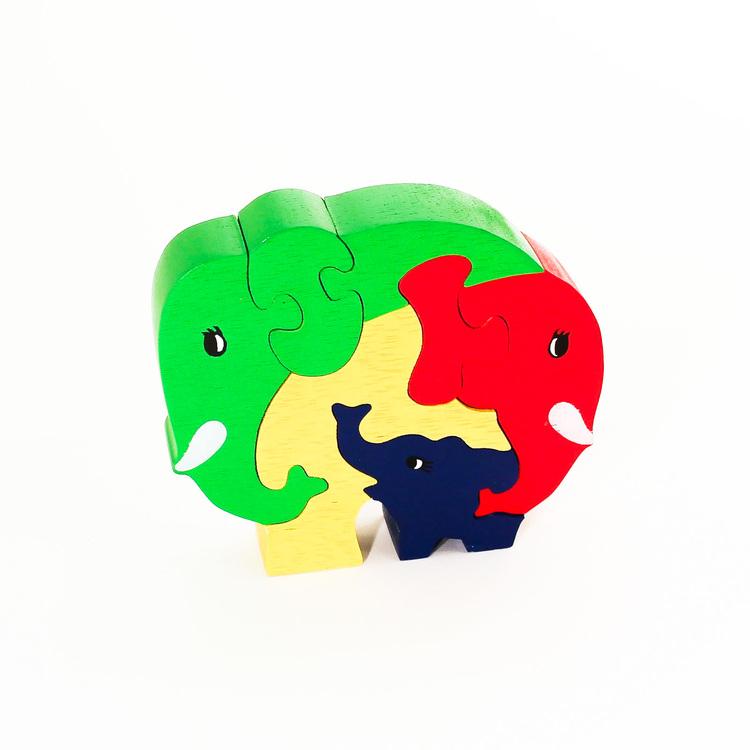 Pussel i trä, elefantgrupp