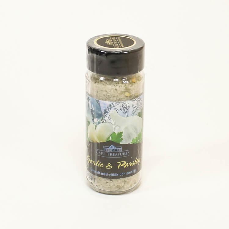 Havssalt smaksatt med vitlök & persilja. En härlig bordskrydda med en utsökt mild smak av vitlök. Khoi san, Fairtrade.