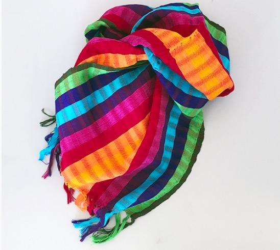 Sjal, scarf, regnbågsfärgad bomull